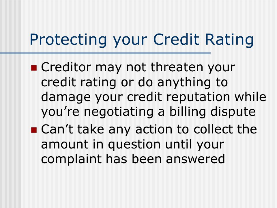Protecting your Credit Rating