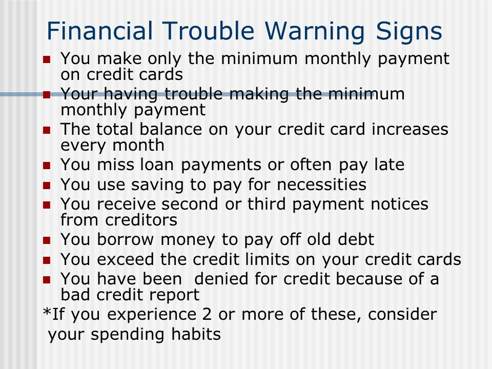 Financial Trouble Warning Signs