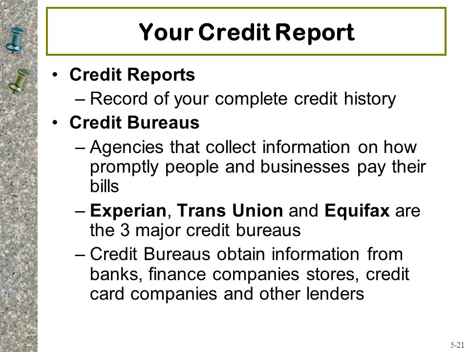 Your Credit Report Credit Reports
