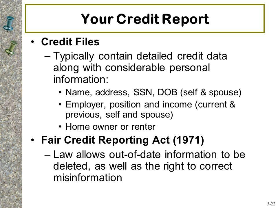 Your Credit Report Credit Files