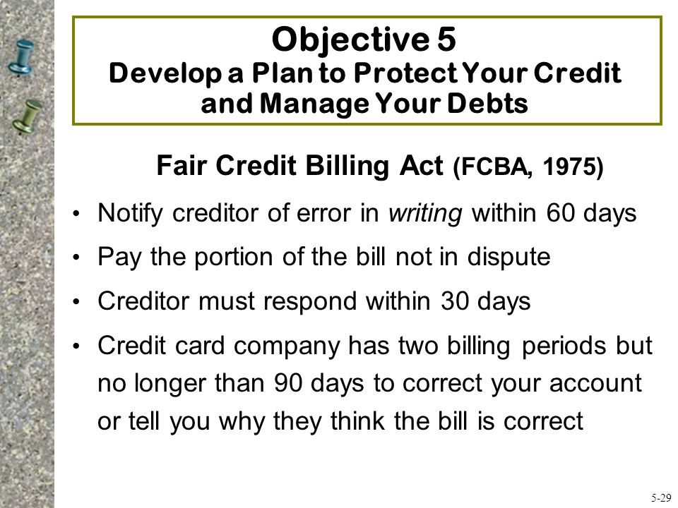 Fair Credit Billing Act (FCBA, 1975)