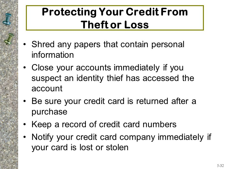 Protecting Your Credit From Theft or Loss
