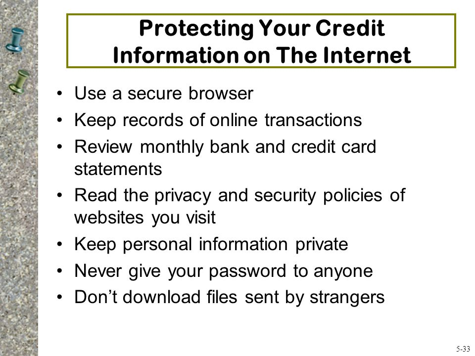 Protecting Your Credit Information on The Internet