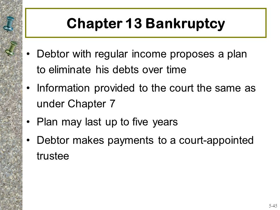 Chapter 13 Bankruptcy Debtor with regular income proposes a plan to eliminate his debts over time.