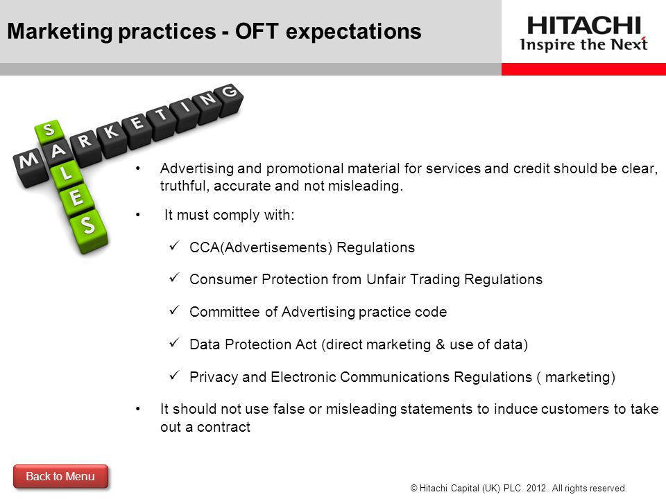 Marketing practices - OFT expectations