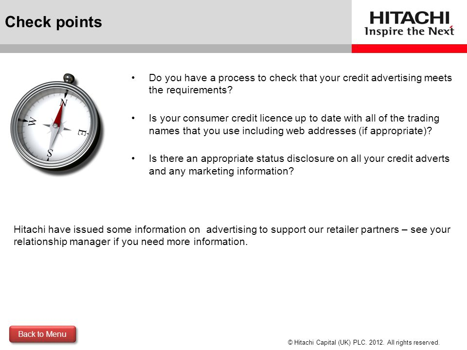 Check points Do you have a process to check that your credit advertising meets the requirements