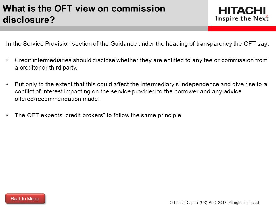 What is the OFT view on commission disclosure