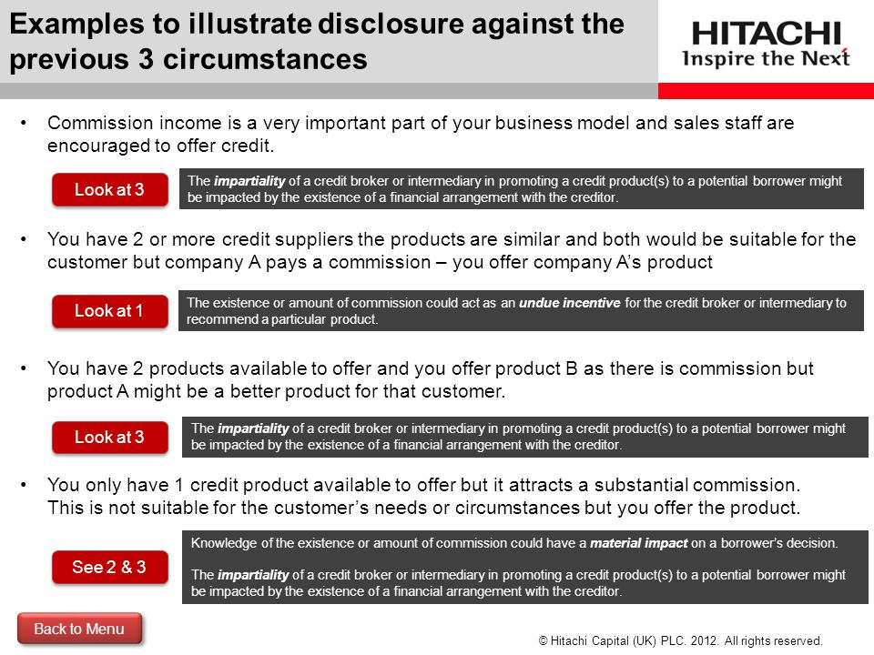 Examples to illustrate disclosure against the previous 3 circumstances