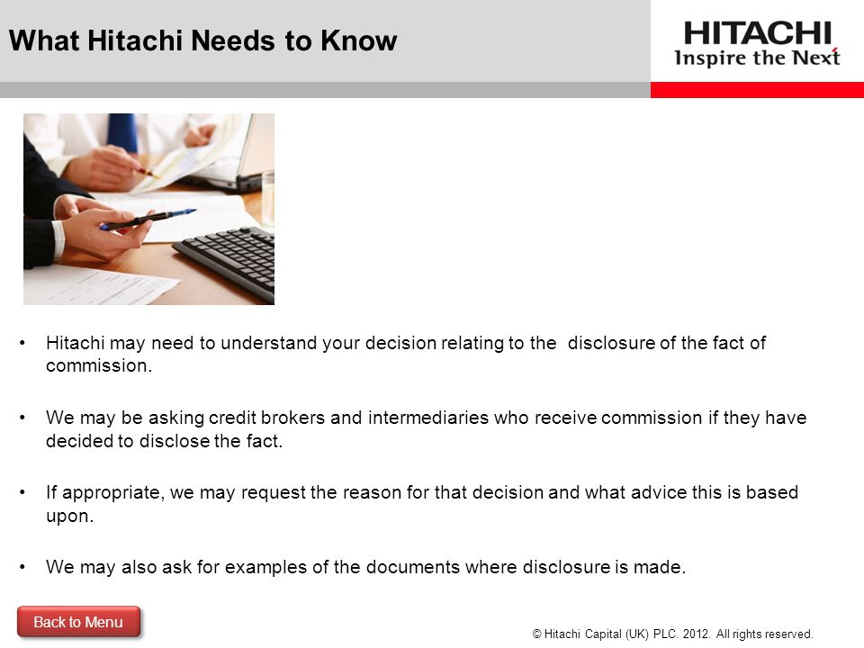 What Hitachi Needs to Know