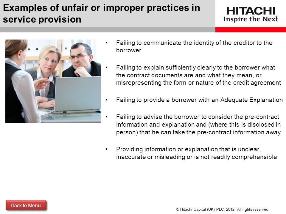 Examples of unfair or improper practices in service provision