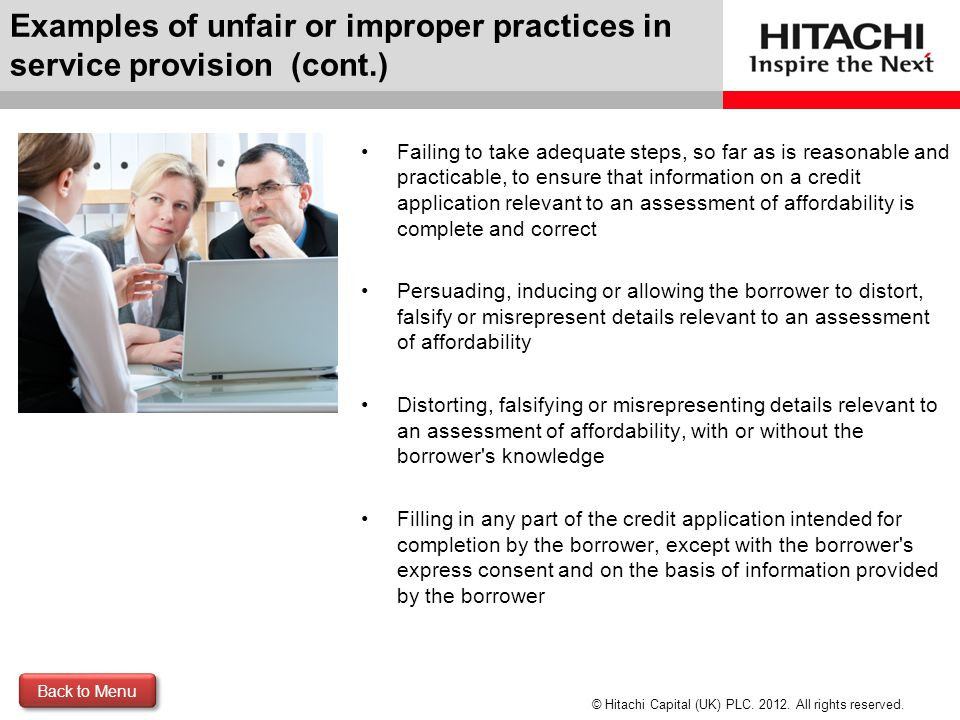 Examples of unfair or improper practices in service provision (cont.)