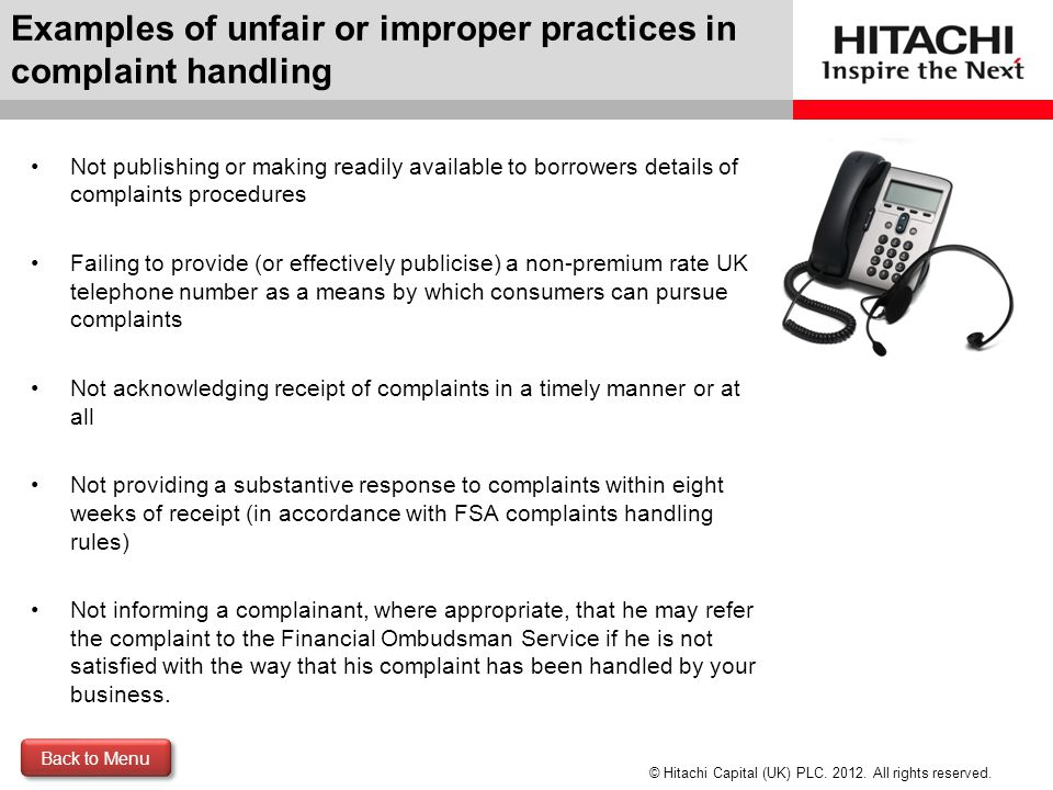 Examples of unfair or improper practices in complaint handling