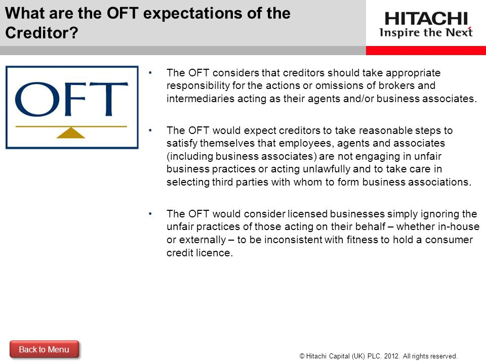 What are the OFT expectations of the Creditor