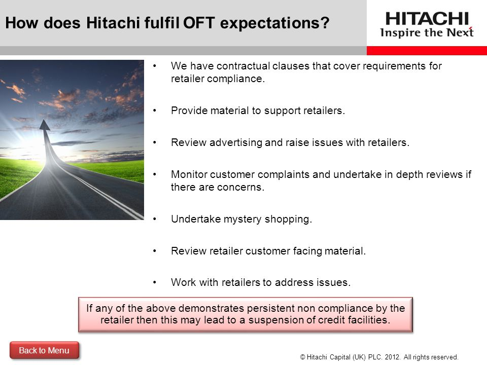 How does Hitachi fulfil OFT expectations