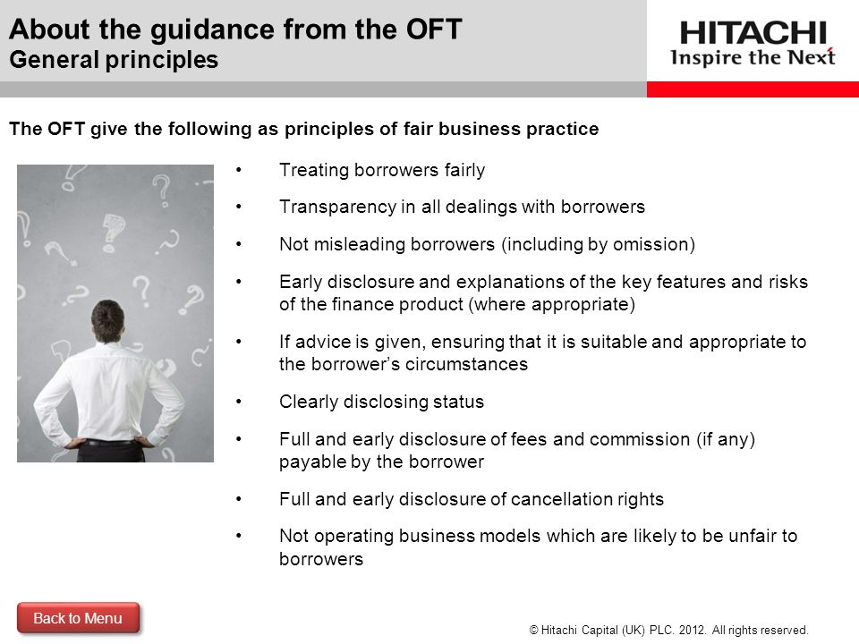 About the guidance from the OFT General principles