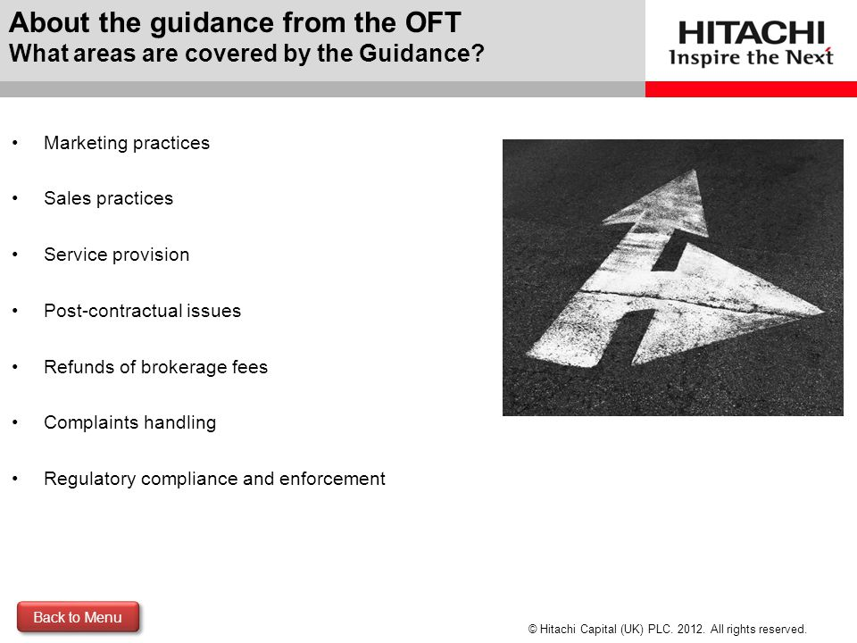 About the guidance from the OFT What areas are covered by the Guidance
