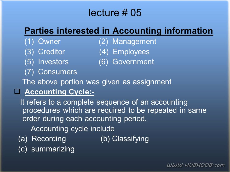 lecture # 05 Parties interested in Accounting information