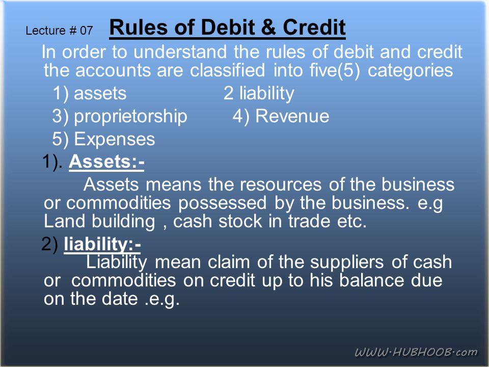 3) proprietorship 4) Revenue 5) Expenses 1). Assets:-