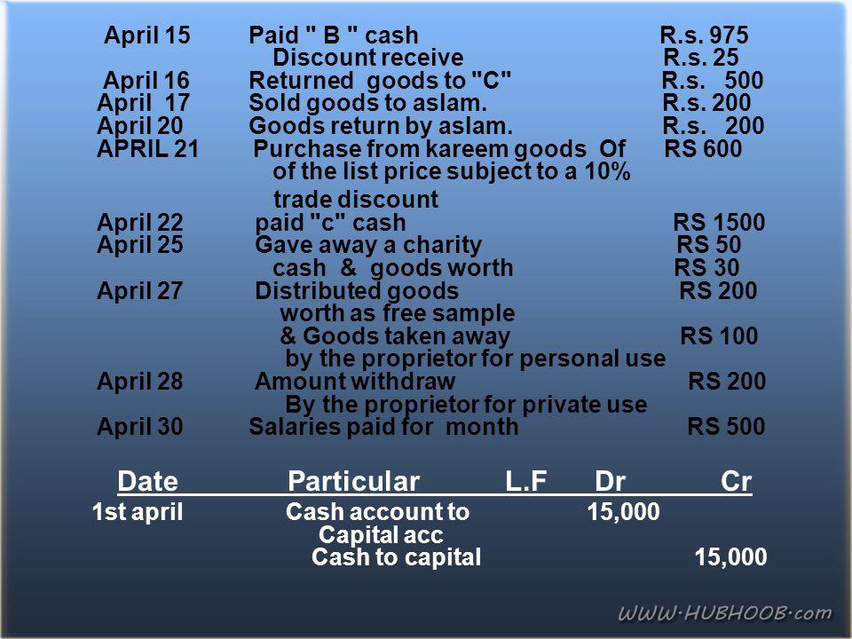April 15 Paid B cash R. s. 975 Discount receive R. s