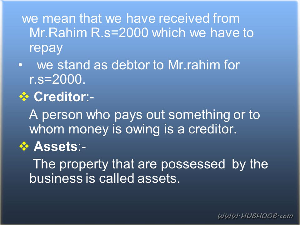 we mean that we have received from Mr. Rahim R