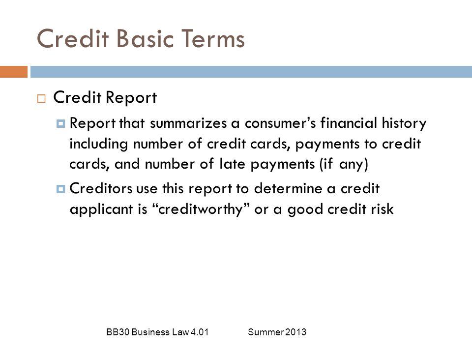 Credit Basic Terms Credit Report