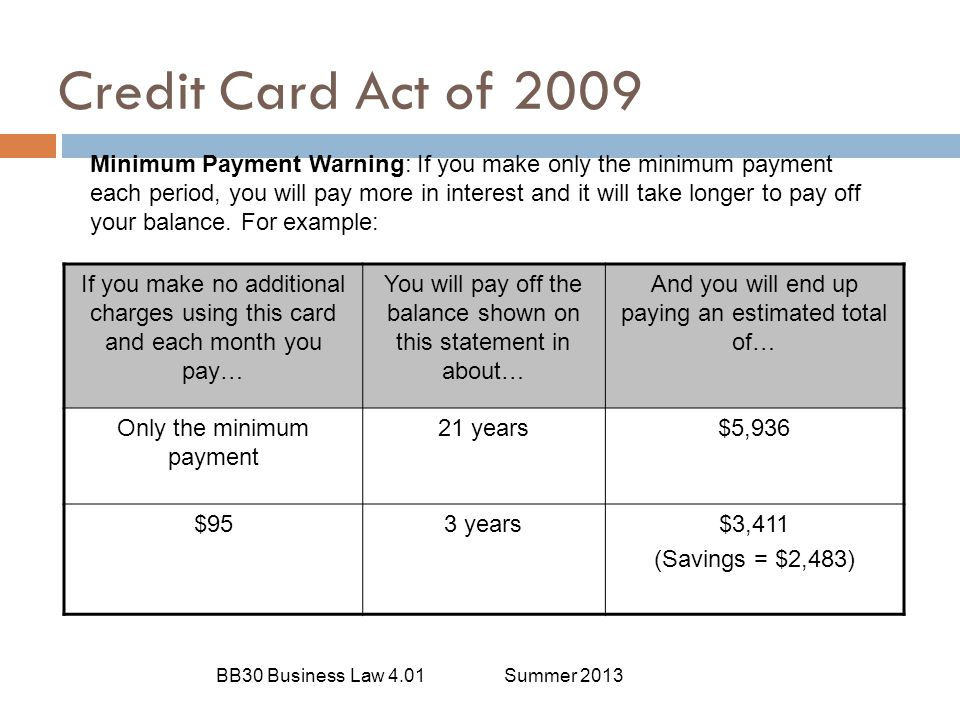 Credit Card Act of 2009
