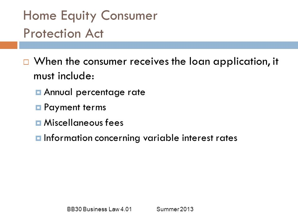 Home Equity Consumer Protection Act