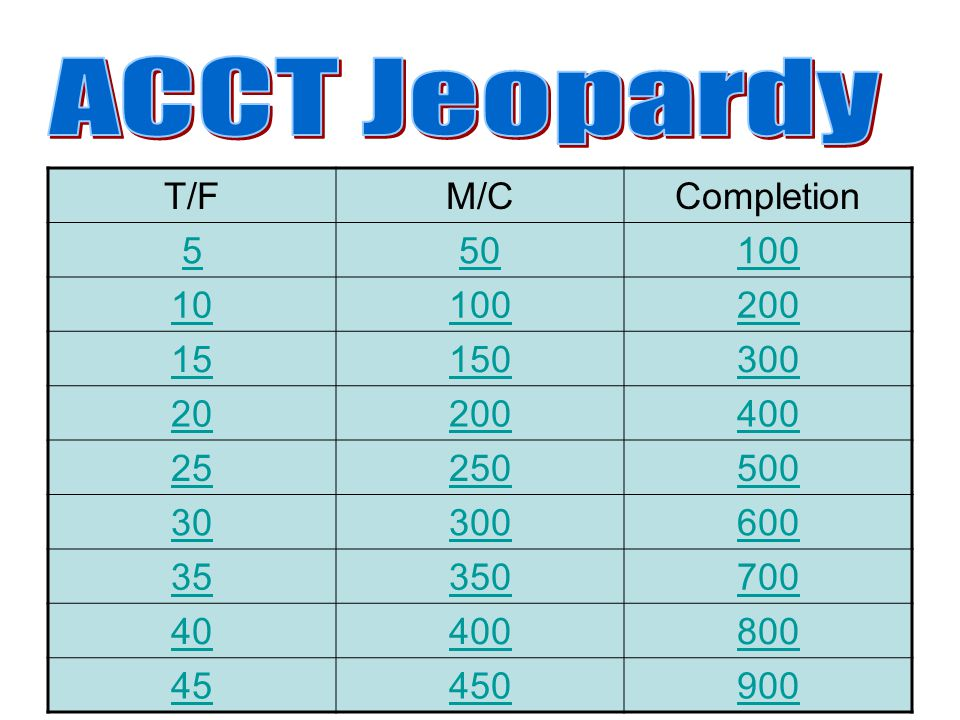 ACCT Jeopardy T/F M/C Completion 5 50 100 10 200 15 150 300 20 400 25