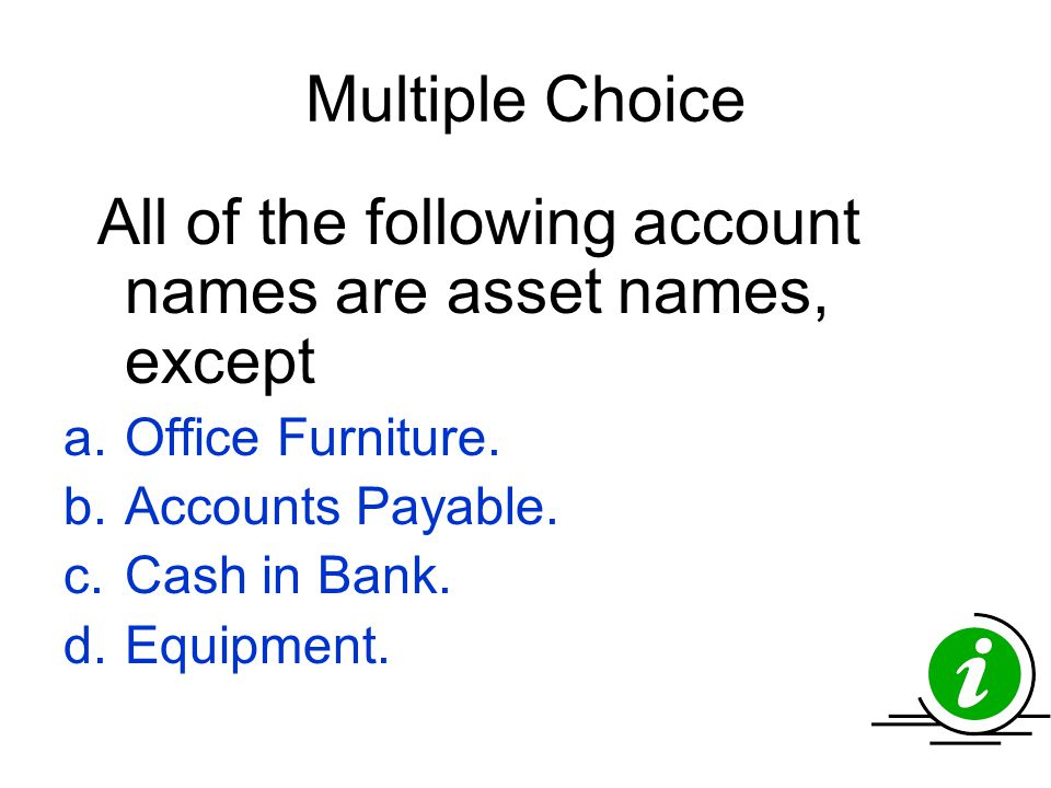 Multiple Choice Office Furniture. Accounts Payable. Cash in Bank.
