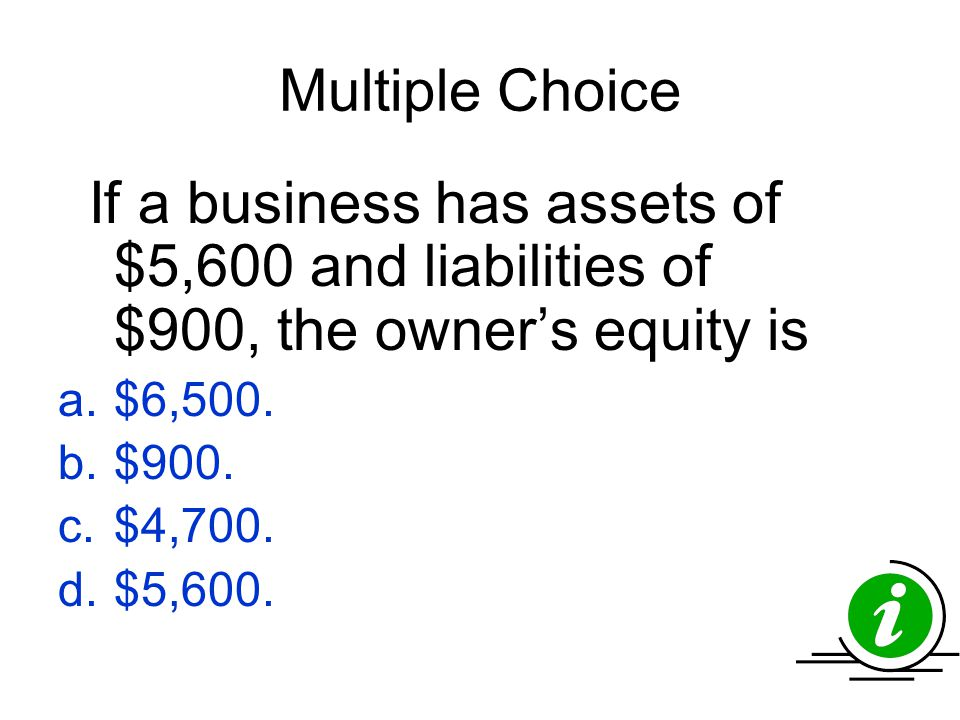 Multiple Choice If a business has assets of $5,600 and liabilities of $900, the owner's equity is. $6,500.