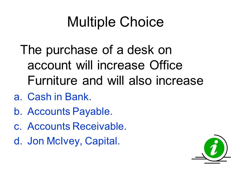 Multiple Choice Cash in Bank. Accounts Payable. Accounts Receivable.