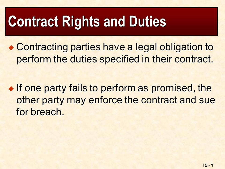 Contract Rights and Duties
