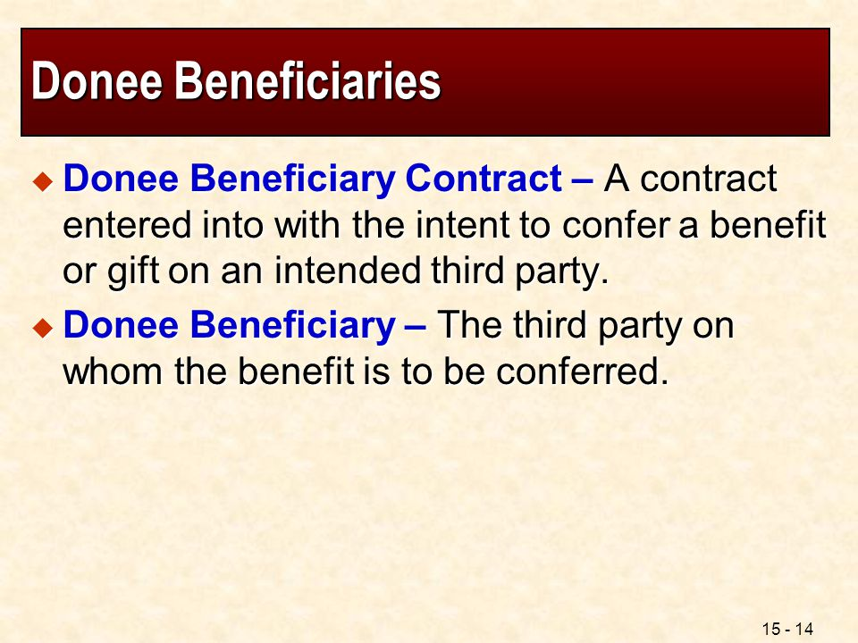 Donee Beneficiaries Donee Beneficiary Contract – A contract entered into with the intent to confer a benefit or gift on an intended third party.