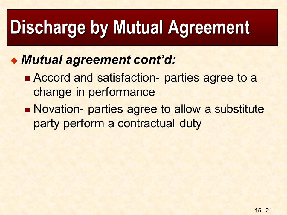 Discharge by Mutual Agreement