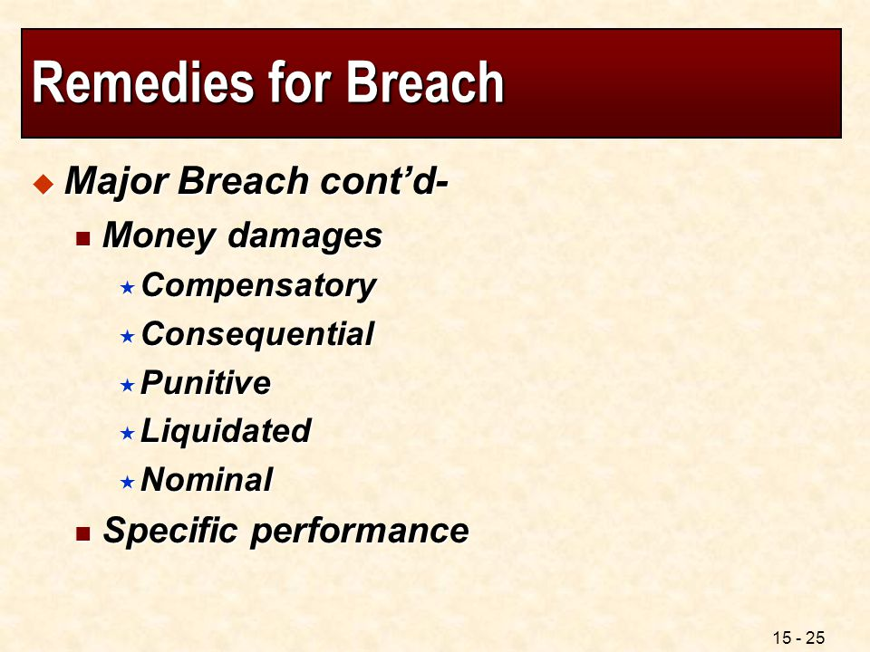 Remedies for Breach Major Breach cont'd- Money damages