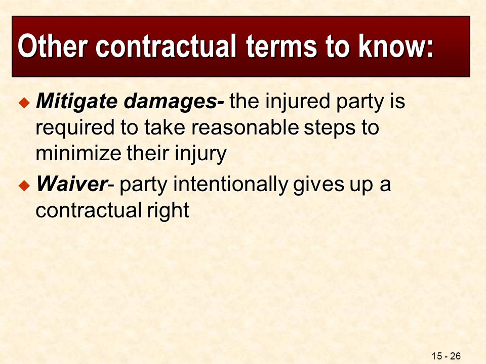 Other contractual terms to know: