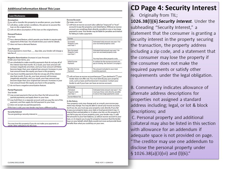 CD Page 4: Security Interest