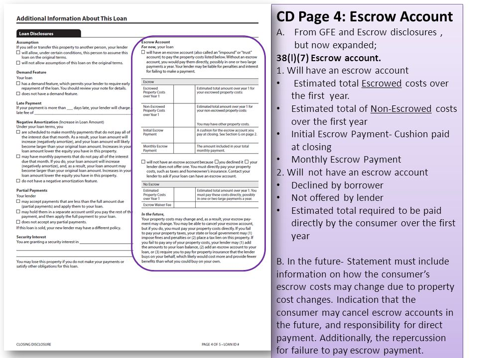 CD Page 4: Escrow Account