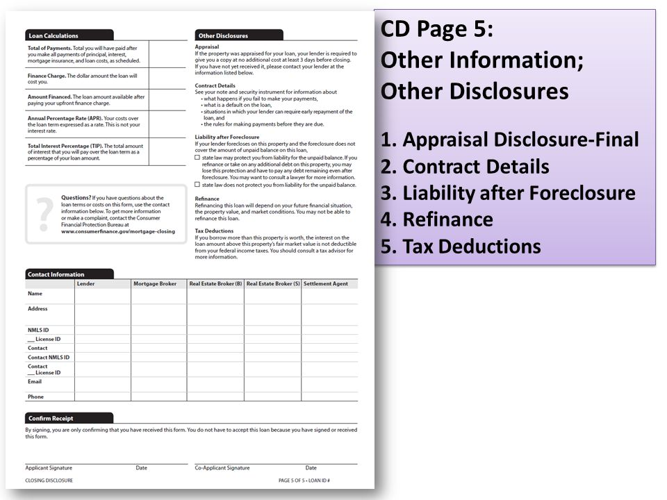 CD Page 5: Other Information; Other Disclosures