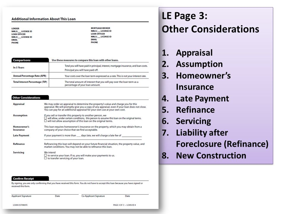 LE Page 3: Other Considerations Appraisal Assumption