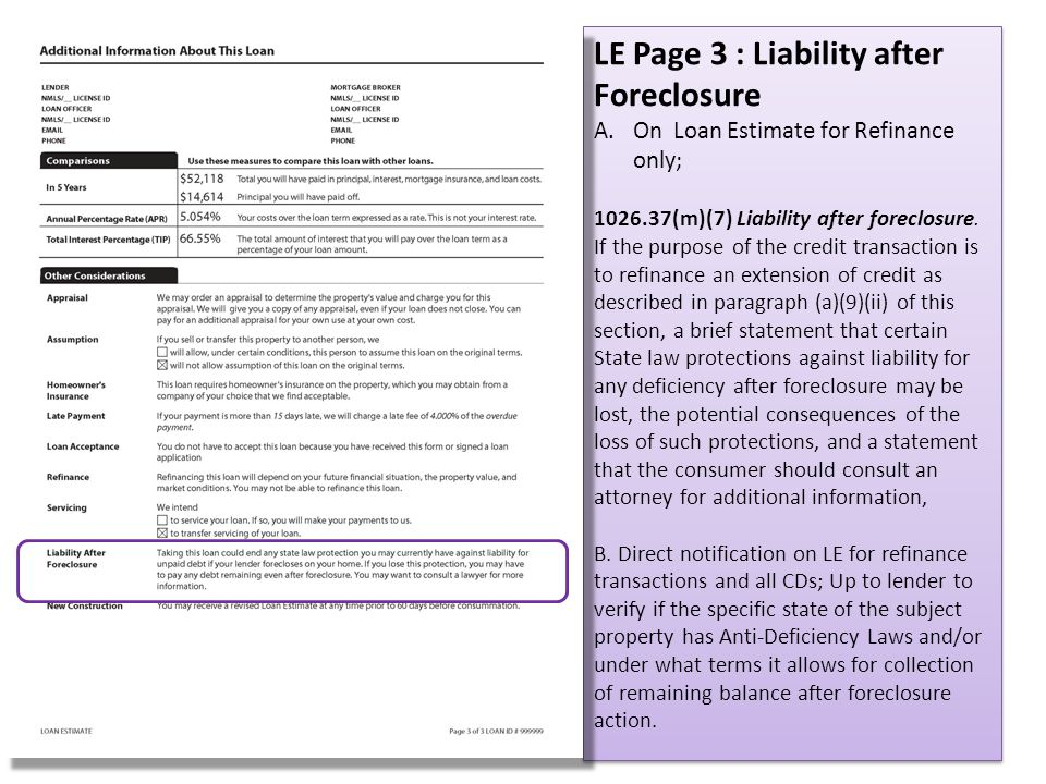 LE Page 3 : Liability after Foreclosure