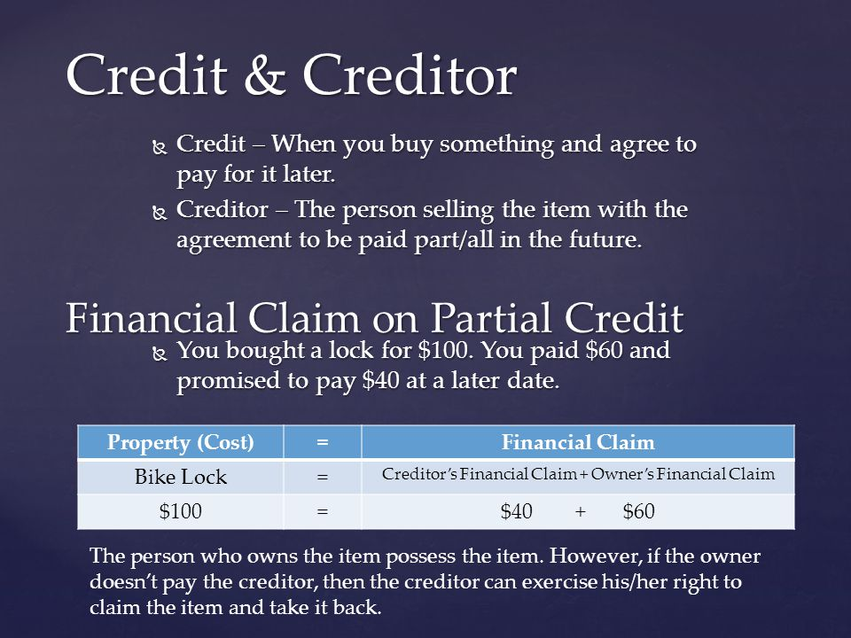 Creditor's Financial Claim + Owner's Financial Claim