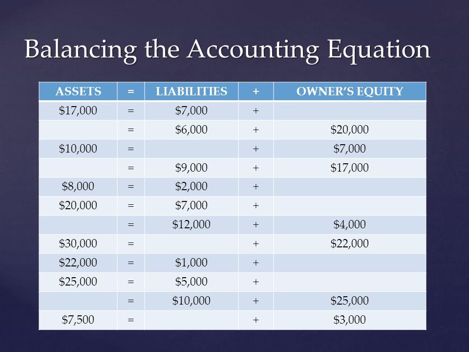 Balancing the Accounting Equation