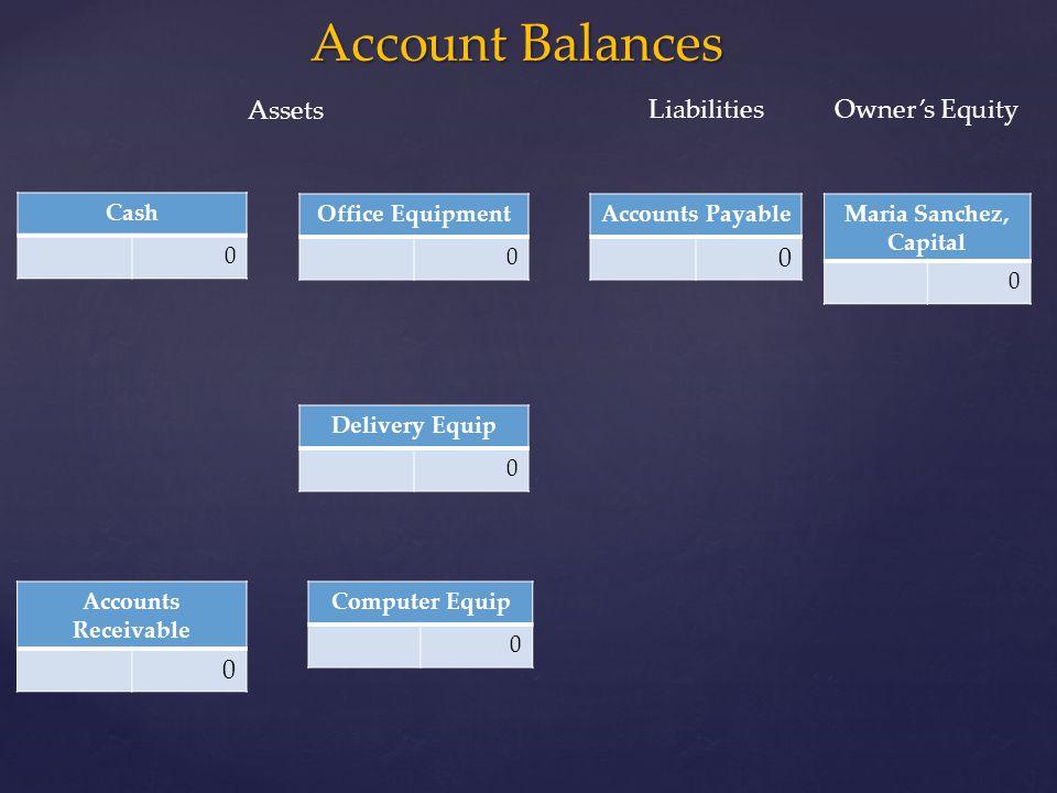 Account Balances Assets Liabilities Owner's Equity Cash