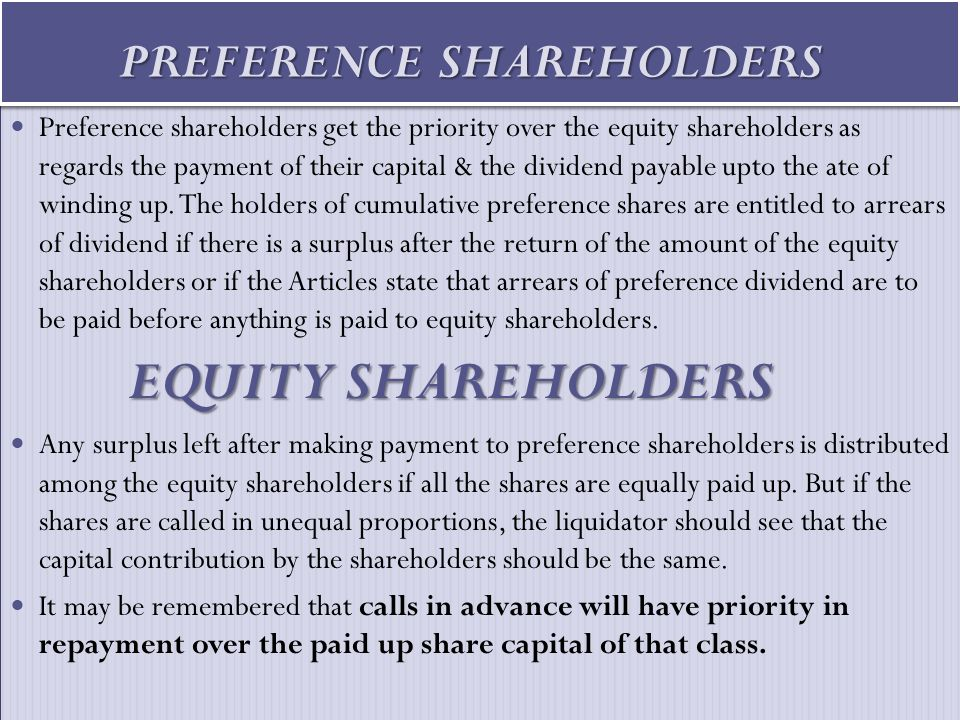PREFERENCE SHAREHOLDERS