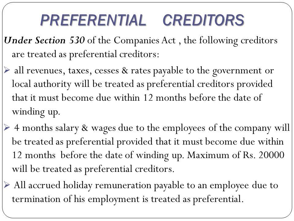 PREFERENTIAL CREDITORS