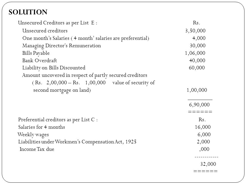 Unsecured Creditors as per List E : Rs.