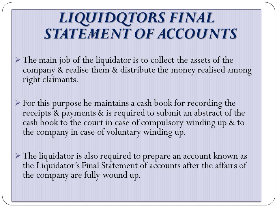 LIQUIDQTORS FINAL STATEMENT OF ACCOUNTS