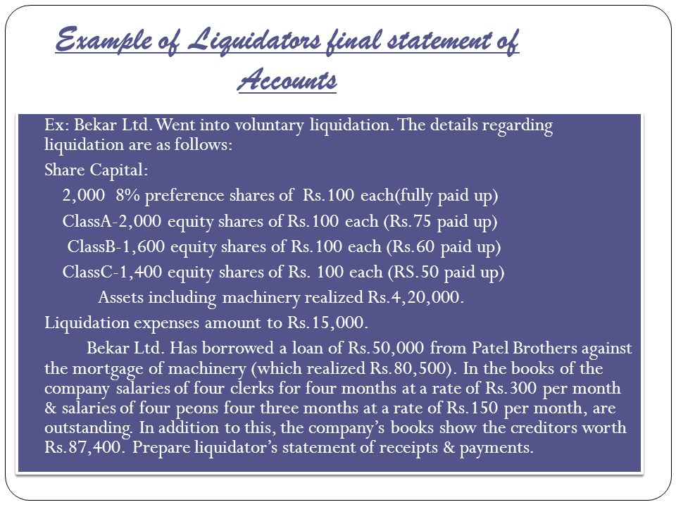 Example of Liquidators final statement of Accounts