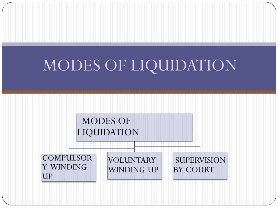 MODES OF LIQUIDATION MODES OF LIQUIDATION VOLUNTARY WINDING UP
